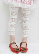Girls Kids Lace Leggings Pants / Footless Tights Size 1 2 3 4 5 WHITE CREAM