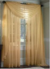 "SHEER / SCARF Window Treatments Curtains Drape Valances 63"" 84"" 95"" LIGHT GOLD"