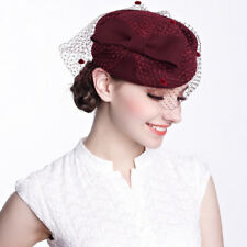 A080 Circle Womens Dress Fascinator Wool Felt Pillbox Hat Party Wedding Bow Veil