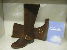 Ladies Clarks Orinoco Jazz Brown Leather Casual Long Boots