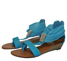 Womens Cute T-strap Ankle Wrap Thong Rhinestone Low Wedge Sandals Rose-1Blue