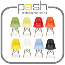 DSW 'Eiffel' Chair - Eames inspired Bauhaus dining side abs plastic + wooden leg