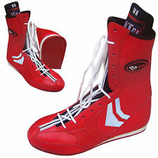 RED WHITE BOXING SHOES LONG BOOTS REAL LEATHER LIGHT WEIGHT MENS