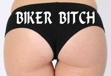 WOMEN'S JUNIORS HOT SEXY BOOTY BOY SHORTS Biker Bitch WHITE BOLD TYPE LINGERIE