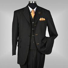 New Men's 3 piece Elegant and Classic Stripes Suit Color Black Size 38R~60L