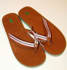 Polo Ralph Lauren Weave Thong Sandals Leather Womens Flip Flops Pink Green