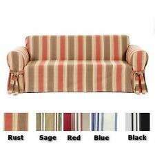 All Cotton 100% Stripe Sofa or Loveseat or Chair Slipcover Cover in 5 COLORS