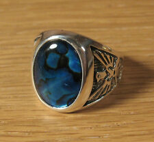 Blue Paua Shell Eagle Mens Ring Sterling Silver Wheeler Mfg Jewelry US Made
