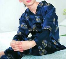 FREE Ship Men Silk Satin Pajamas Pyjamas US S M L XL 2XL 3XL Lounge top pants