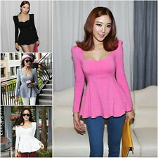 Fashion Korean Womens Peplum Frill Puff Sleeve Fitted Club Wear Shirt Blouse Top