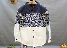 1717 Boutique Blue & White Porcelain Oriental Shirt Joint Material Very Trendy