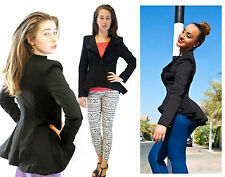 NEW LADIES Women CELEBRITY CROP PEPLUM FRILL BLAZER OFFICE JACKET COAT8-14 £75