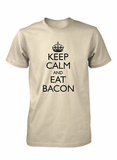 Men's Keep Calm and Eat Bacon Funny T-Shirt Humor Breakfast Food Tee