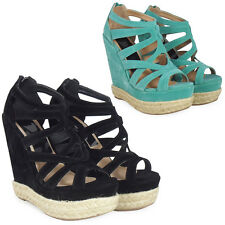 NEW WOMENS LADIES FAUX SUEDE STRAPPY PEEPTOE PLATFORM HIGH WEDGE HEEL SHOES SIZE