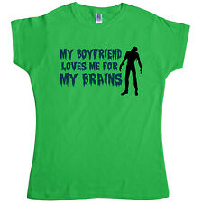 Neuen Herren T Shirt -  My boyfriend loves me for my brains - T Shirt