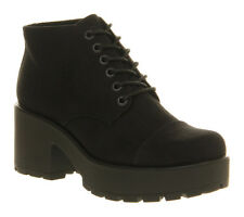 Womens Vagabond Dioon Lace Up Boot Black Canvas Boots