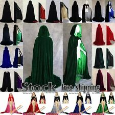 New STOCK Medieval Velvet Hooded Cloak/coat/Cape Wedding Shawl Halloween Cloak