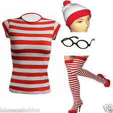 LABREEZE WHERES RED & WHITE STRIPED WALLY TSHIRT HAT GLASSES COSTUME FANCY DRESS