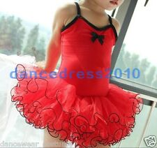 New Girls Ballet Costume Tutu Kids Dance Gymnastic Leotard Skirt Dress SZ3-8 Red