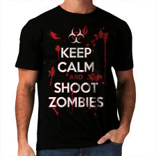 Keep Calm And Shoot Zombies Funny Men Women T-Shirt Walking Dead Inspired *h31