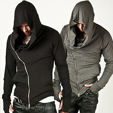 New Mens Fashion Top Striking Unbeatable Style Arm Warmer Diagonal Zip-up Hoodie