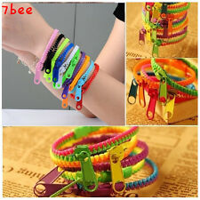 2PCS Unisex Colorful HipHop Acrylic Rock Punk Zipper Zip Shaped Bangle Bracelet