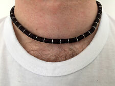 NEW MENS BLACK & SILVER TONE METAL BEAD NECKLACE  MEN'S BOY'S SURFER ACCESSORIES
