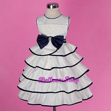 Cream Pears Satin Flower Girl Dress Wedding Pageant Baby Size 12months-5 FG255