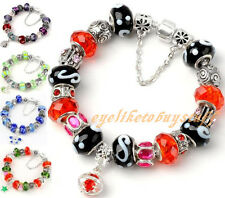 Silver Plated Murano Crystal Lampwork Glass European Bead Charm Dangle Bracelet