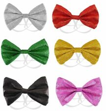 GLITTER SPARKLY SEQUIN DICKY DICKIE BOW TIE FANCY DRESS COSTUME PARTY