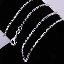 """10pcs 1.4MM 925 Sterling Silver Necklace Box Link Chains Jewelry 16""""-30"""""""