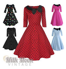 Vintage Dress 1950s 1960s Party Red Black Polka Dot Sleeve Collar Size UK 8-26