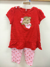 Carter's Child of Mine 2-Piece Girls Pants Set Monkey and Hearts, Red and Pink