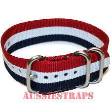 PREMIUM ZULU 3 Ring RED WHITE BLUE 20-22-24mm Military Divers watch strap band