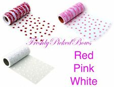 "5-3/4"" Heart Flocked Tulle 10 yard roll 3 colors available"