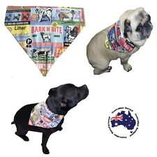 Dog Bandana S M L Vintage Dog Print - Slides  on Collar  Pet Fashion Neck Scarf