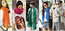 2015 New Women's Pure Long Crinkle Scarf Voile Stole Shawl Wrap All Match Vogue
