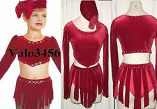 FIRE Jazz Tap Dance Fringe Dress w/HAT Costume Curtain Time CXS, AS, AM, AL
