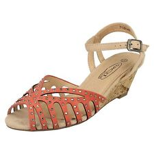 LADIES SPOT ON ANKLE STRAP WEDGE PEEP TOE CASUAL SANDALS F10148