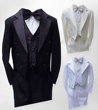BOYS 5 PIECES TUXEDO SUIT BABY BOYS CHRISTENING BAPTISM TAIL SUIT 3 MTS TO 6 YRS