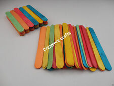 50 OR 100 JUMBO COLOURED WOODEN LOLLIPOP ICE LOLLY STICKS KIDS ART CRAFT MODELS