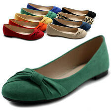 ollio Womens Ballet Flats Loafers Bowed Faux-Suede Multi Colored Shoes