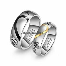 "Puzzle Heart Tungsten Carbide "" Real Love "" Couples Promise Engagement Ring"