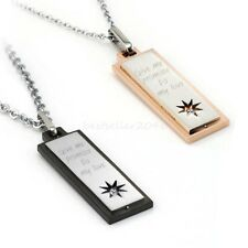 """Stainless Steel """" Give Me Promise To My Love """" Couples Pendant Necklace Gift"""
