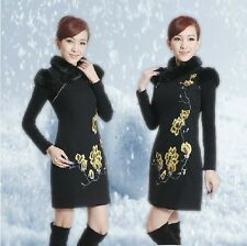 Chinese Women Cheongsam Fur Collar Winter Short Dresses leopard Style 2013 New