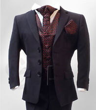Boys Navy & Burgundy / Wine 5 Pieces Wedding Cravat Suit Age 6 m to 15 Years