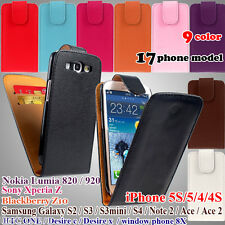 Flip Wallet Leather Case Cover Card Slot Camera Hole iPhone Samsung Nokia Htc