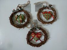 Gisela Graham Tartan Fabric Heart in Twig Ring Christmas Tree Decoration 3 Asst
