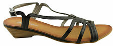 DONNA VELENTA OPTIMIST WOMENS LOW HEEL STRAPPY BLACK CASUAL/FORMAL SANDALS