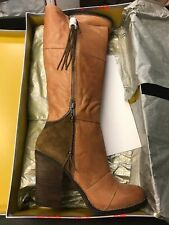 Kelsi Dagger HAZEY Boot COGNAC knee-High Tall Camel Brown Zipper Nude Skull NEW